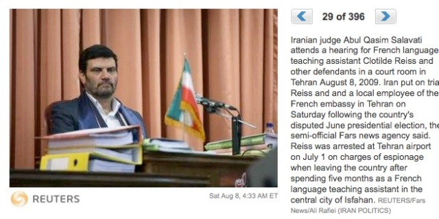 Iranian judge Abul Qasim Salavati attends a hearing for French language teaching assistant Clotilde Reiss and other defendants in a court room in Tehran August 8, 2009.