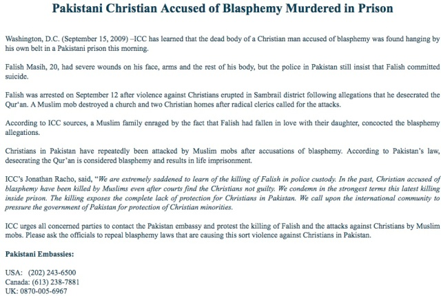 pakistani christian murdered in prison