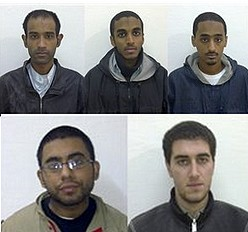 This file photo released by Sargodha Police Department in December 2009 shows arrested American Muslims, from left, Umar Farooq, Ahmad Minni, Aman Yemer and second row, from left, Waqar Hussain and Ramy Zamzam. Photo: AP