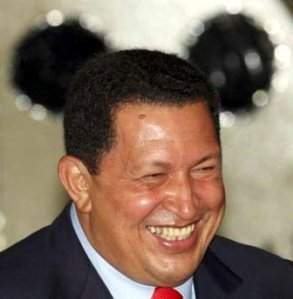 Hugo Chávez, laughing after knowing how much he and his family have in bank accounts across the world